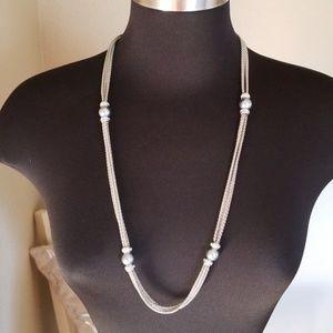 Premier Designs Silver Rhinestone Bead Necklac